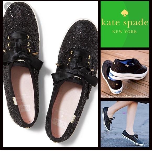 Kate Spade Black Glitter Keds Shoes